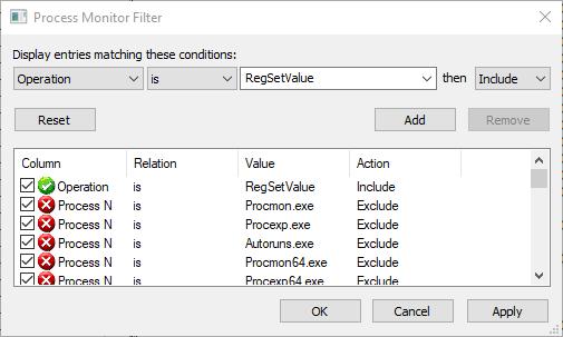 Procmon add filter